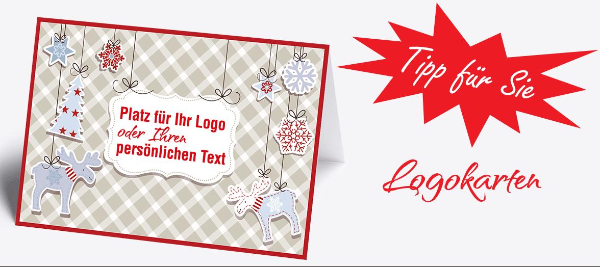 Jetzt Ihr Firmen-Logo, Firmen-Name, Wunschtext oder Bild prominent auf der Titelseite Ihrer Wunschkarte