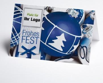 Logo-Weihnachtskarte 150088-101 mit Kugeln blau