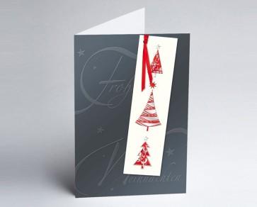 Weihnachtskarte 150126-112 Lesezeichen grau