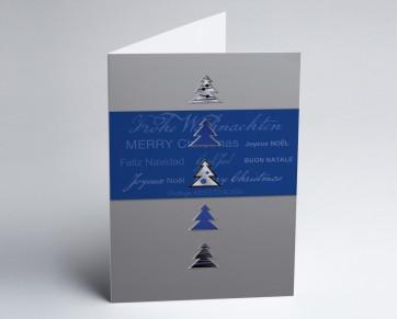 Weihnachtskarte 150130-101 Blaue Bäume International