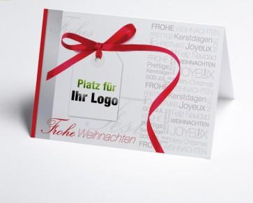 Logo-Weihnachtskarte 150161-100 rote Schleife