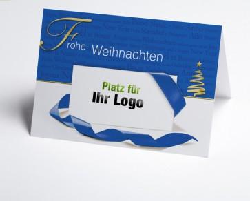 Logo-Weihnachtskarte 150165-101 Frohe Weihnachten in blau