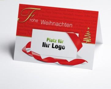 Logo-Weihnachtskarte 150166-100 Frohe Weihnachten in rot