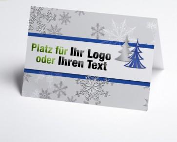 Logo-Weihnachtskarte 150176-101 Schneeflocke und Baum in blau