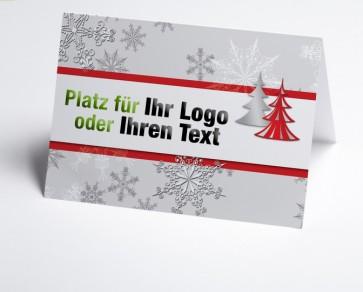 Logo-Weihnachtskarte 150177-100 Schneeflocke und Baum in rot