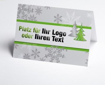Logo-Weihnachtskarte 150178-102 Schneeflocke und Baum in grün