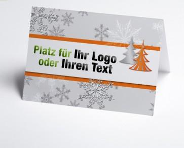 Logo-Weihnachtskarte 150179-103 Schneeflocke und Baum in orange
