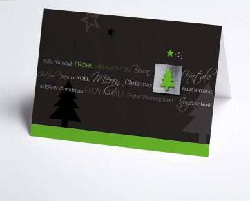 Weihnachtskarte 150194-102 Internationale Weihnachtsgrüße in grau und grün