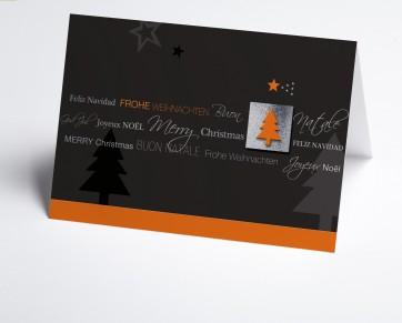 Weihnachtskarte 150195-103 Internationale Weihnachtsgrüße in grau und orange