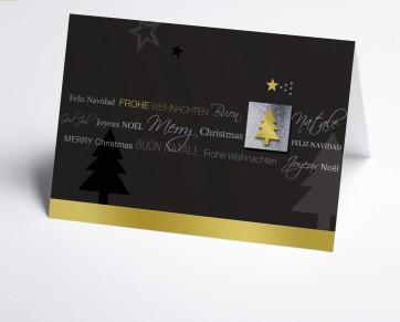 Weihnachtskarte 150196-105 Internationale Weihnachtsgrüße in grau und gold