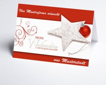 Grüße aus... Weihnachtskarte 150197-113 Weihnachtsglanz in weiß und rot