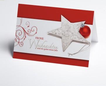 Weihnachtskarte 150197-100 Weihnachtsglanz in weiß und rot