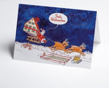 Weihnachtskarte 150201-112 Branche Bau Rentierschlitten