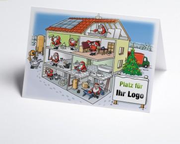 Weihnachtskarte 150209-112 Logo-Branchenkarte Hausbau verschiedene Gewerke