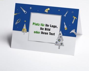 Weihnachtskarte 150222-101 Logo-Branchenkarte Bau und Handwerk blau