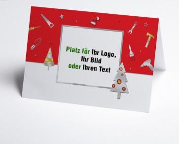 Weihnachtskarte 150223-100 Logo-Branchenkarte Bau und Handwerk rot