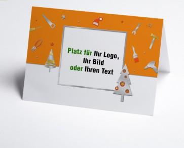 Weihnachtskarte 150224-103 Logo-Branchenkarte Bau und Handwerk orange