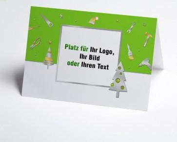Weihnachtskarte 150225-102 Logo-Branchenkarte Bau und Handwerk grün
