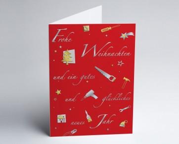 Weihnachtskarte 150228-100 Branche Bau und Handwerk rot