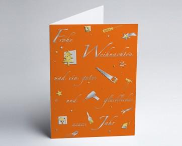 Weihnachtskarte 150229-103 Branche Bau und Handwerk orange