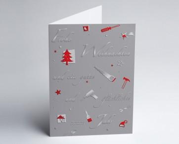 Weihnachtskarte 150231-104 Branche Bau und Handwerk grau