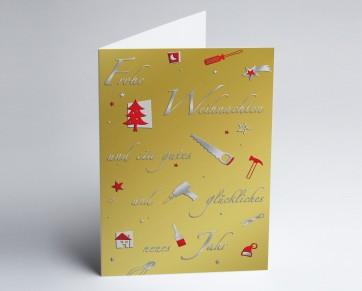 Weihnachtskarte 150232-105 Branche Bau und Handwerk gold
