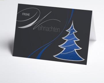 Weihnachtskarte 150244-101 Grafischer blauer Baum