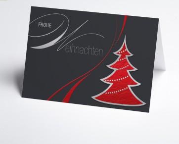 Weihnachtskarte 150245-100 Grafischer roter Baum