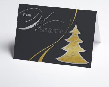 Weihnachtskarte 150246-105 Grafischer goldener Baum
