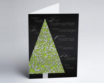 Weihnachtskarte 150248-102 Eleganter grüner Baum international