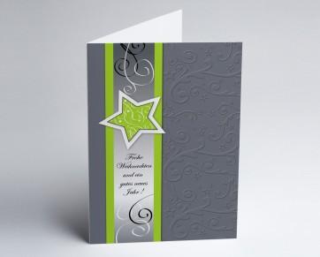 Weihnachtskarte 150253-102 Grüner Sternenglanz
