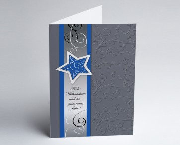 Weihnachtskarte 150255-101 Blauer Sternenglanz