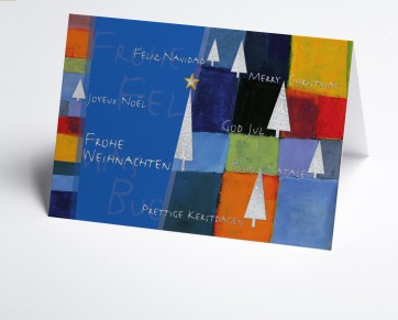 Weihnachtskarte  150269-101 Kunstkarte blau international