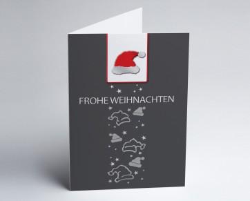 Weihnachtskarte 150271-104 Nikolausmütze grau