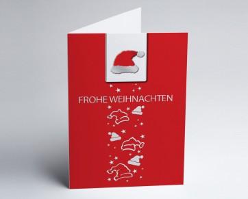 Weihnachtskarte 150272-100 Nikolausmütze rot