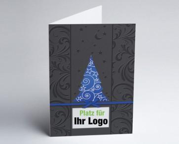 Logo-Weihnachtskarte 150273-101 blauer Baum