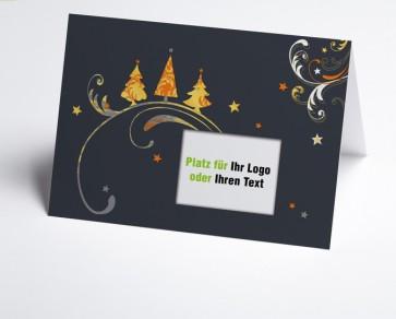 Logo-Weihnachtskarte 150316-103 drei Bäume orange und gold