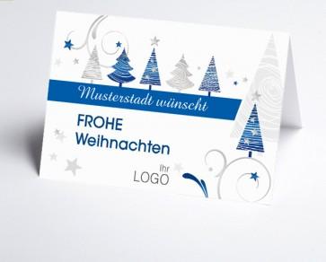 Grüße aus... Weihnachtskarte 150321-113 blaue grafische Bäume