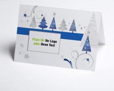 Logo-Weihnachtskarte 150321-101 blau grafische Bäume