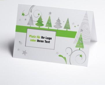 Logo-Weihnachtskarte 150323-102  grüne grafische Bäume