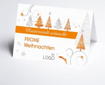 Grüße aus... Weihnachtskarte 150324-113 orange grafische Bäume