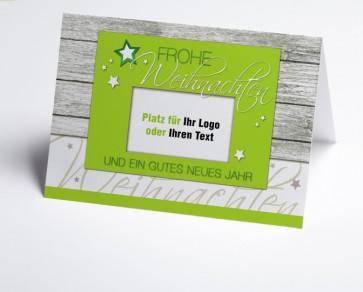 Logo-Weihnachtskarte 150326-102 grün Holzoptik