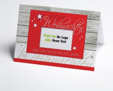 Logo-Weihnachtskarte 150329-100 rot Holzoptik