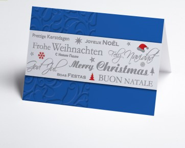 Weihnachtskarte 150335-101 Blaue internationale Grüße