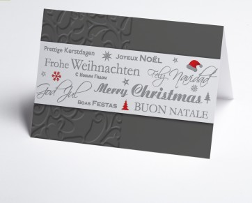 Weihnachtskarte 150336-104 Graue internationale Grüße
