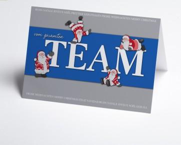 Weihnachtskarte 150360-101 Weihnachtsmann Team blau
