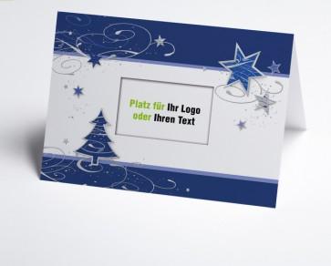Logo-Weihnachtskarte 150362-101 blauer Baum und Sterne