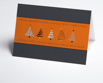 Weihnachtskarte 150379-103 orange Banderole