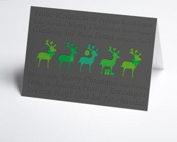 Weihnachtskarte 150384-102 grüne Hirsche