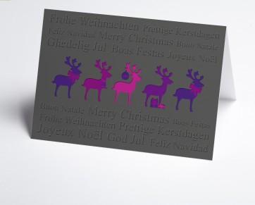 Weihnachtskarte 150398-109 lila Hirsche